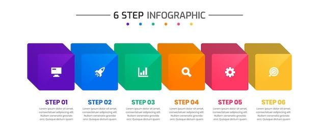 Modèles de conception d'éléments d'infographie avec des icônes et 6 étapes