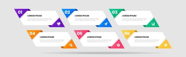 Modèles de conception d'éléments infographiques avec icônes et 6 chiffres
