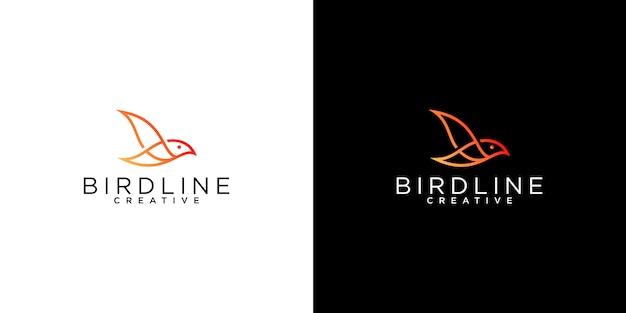 Modèles de conception de logo art ligne oiseau minimaliste