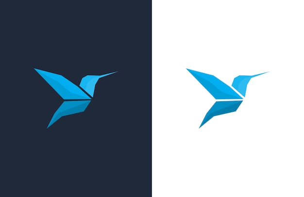 Modèles de conception de logo blue hummingbird