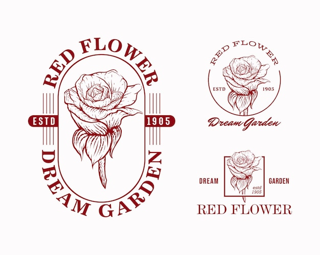 Modèles de conception de logo d'emblème de fleur rouge