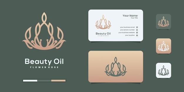 Modèles de conception de logo de fleur de luxe rose et huile d'olive.