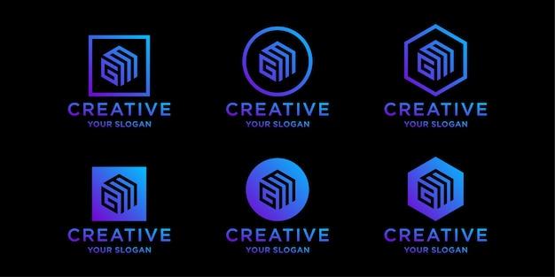 Modèles de conception de logo gm initiales