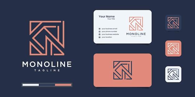 Modèles de conception de logo monogramme k et n