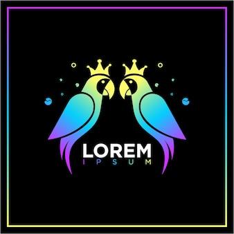 Modèles de conception de logo perroquet oiseaux colorés