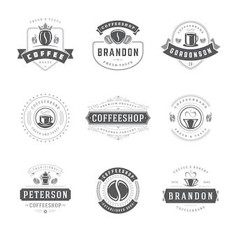 Modèles de conception de logos de café pour la conception d'insignes de café et la décoration de menus