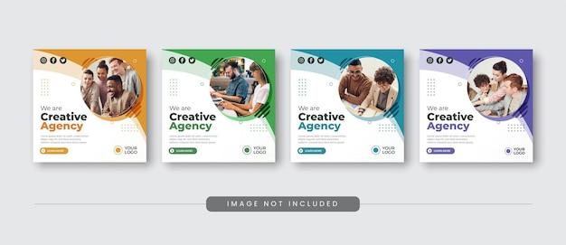 Modèles de conception de publication sur les réseaux sociaux d'agence de création