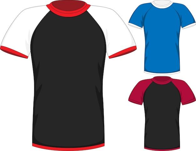 Modèles de conception raglan de t-shirt à manches courtes pour hommes