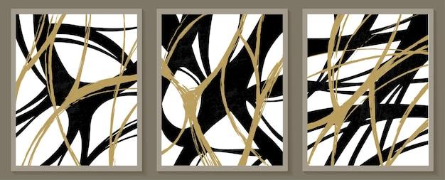 Modèles contemporains avec des formes abstraites de style boho moderne du milieu du siècle.