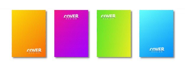 Modèles de couverture abstraite sertis de motifs ondulés. design tendance