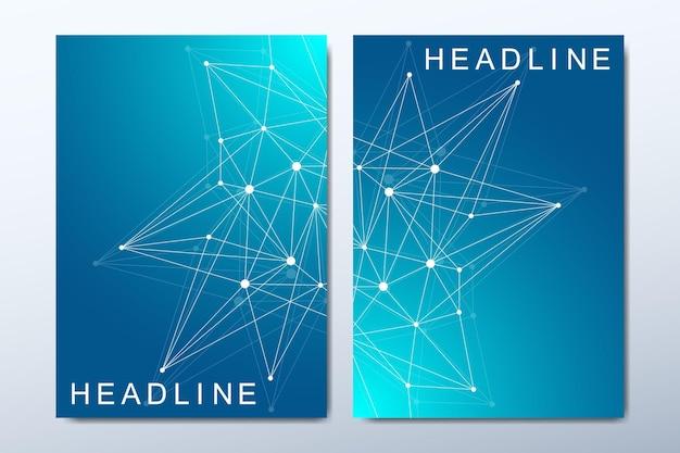 Modèles de couverture commerciale avec illustration de composition abstraite minimale