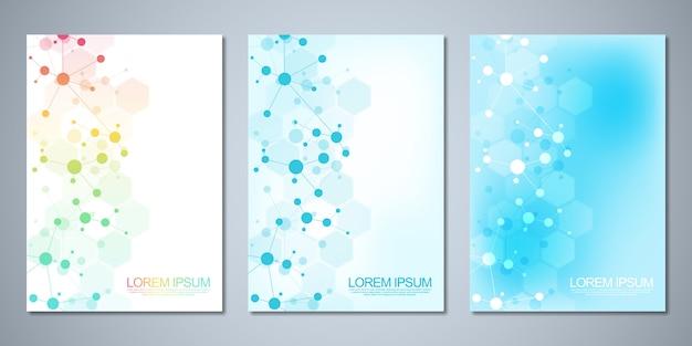 Modèles de couverture, avec fond de molécules et réseau neuronal. abstrait géométrique des lignes et des points connectés. concept scientifique et technologique.