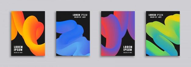 Modèles de couverture à la mode avec des formes abstraites liquides. concept moderne