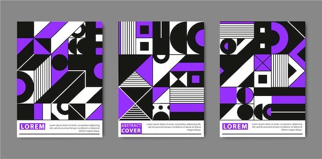 Modèles de couverture sertis de motifs géométriques à la mode, couleurs violettes, noires et blanches. affiches géométriques minimales, cartes. design moderne pour pancartes, affiches, brochures.