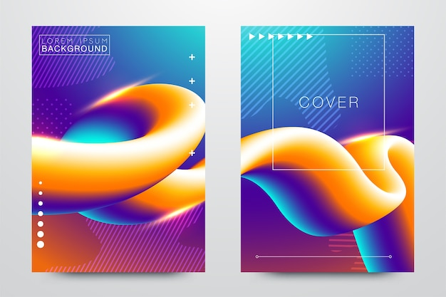 Modèles de création abstraits fluides, cartes, jeu de couvertures de couleur