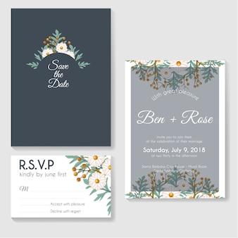 Modèles de conception cartes d'invitation botaniques