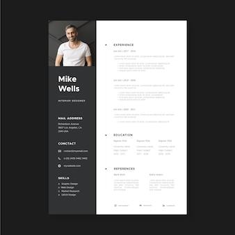 Modèles de demande d'emploi de style minimaliste