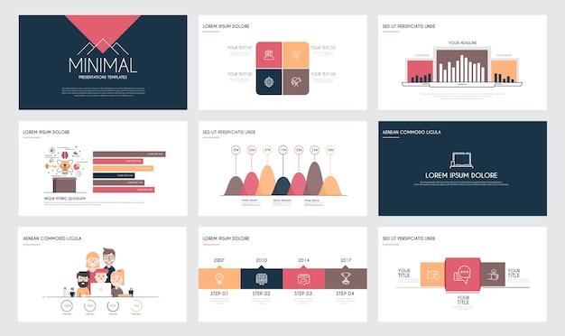 Modèles de diapositives de présentation et brochures commerciales.