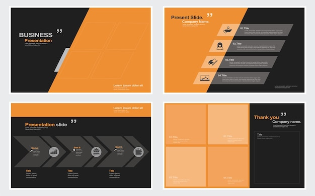 Modèles de diapositives de présentation d'entreprise à partir d'éléments infographiques illustration stock diaporama