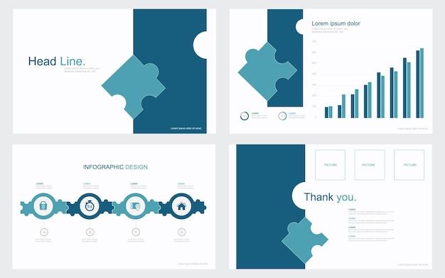 Modèles de diapositives de présentation d'entreprise à partir d'éléments infographiques illustration stock