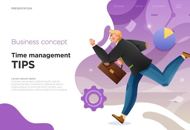 Modèles de diapositives de présentation ou pages de destination pour sites web ou applications illustrations de concept d'entreprise