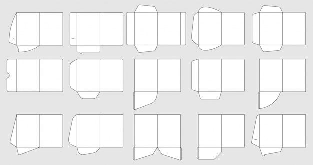 Modèles de dossiers de poche papiers. gabarits de découpe de dossiers de documents, ensemble de dossiers papier