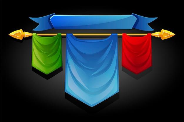Modèles de drapeaux multicolores pour les jeux d'interface utilisateur.