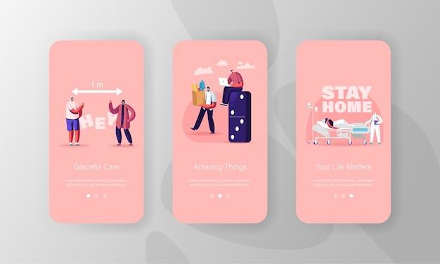 Modèles d'écran de page d'application mobile à distance sociale.