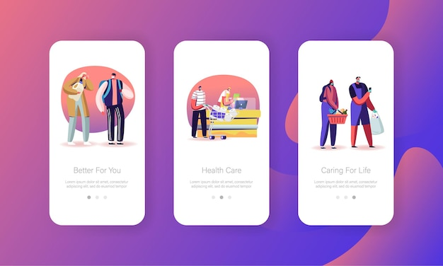 Modèles d'écran de page d'application mobile pour mesures préventives de verrouillage du coronavirus