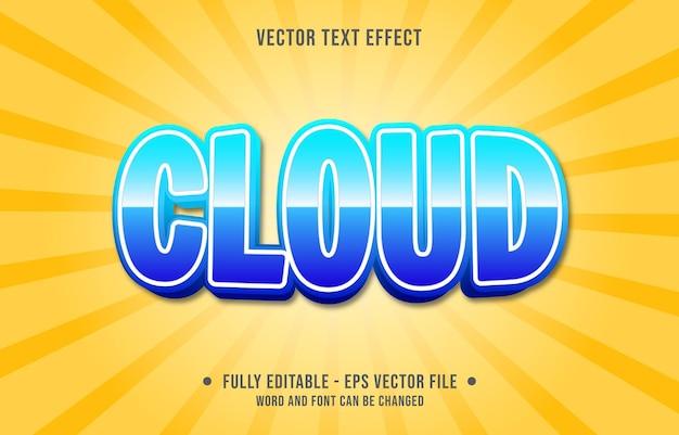 Modèles d'effets de texte modifiables style moderne de couleur bleu nuage