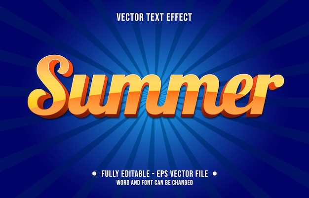 Modèles d'effets de texte modifiables style moderne de couleur dégradé orange d'été