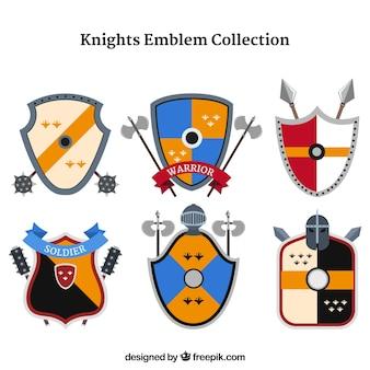 Modèles d'emblème de chevalier coloré