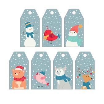 Modèles d'étiquette de nouvel an de noël avec des animaux de dessin animé mignon cerf ours oiseau bonhomme de neige loup