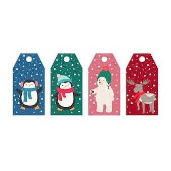 Modèles d'étiquette de nouvel an de noël avec des animaux de dessin animé mignon cerf ours oiseau orignal pingouin