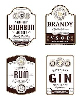 Modèles d'étiquettes vintage de boissons alcoolisées. étiquettes de bourbon, brandy, rhum et gin.
