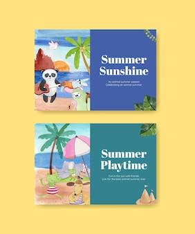 Modèles facebook avec des animaux d'été dans un style aquarelle
