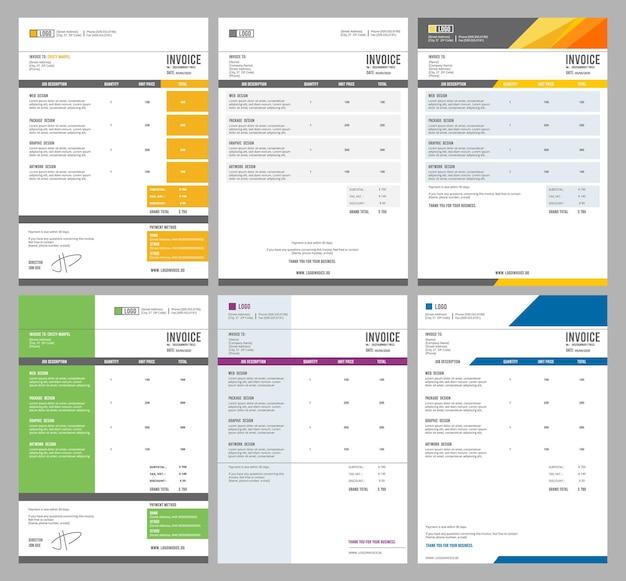 Modèles de facture. eform collection de conception d'accord d'argent de réception.