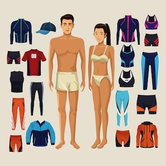 Modèles de femme et homme avec des vêtements de sport de fitness