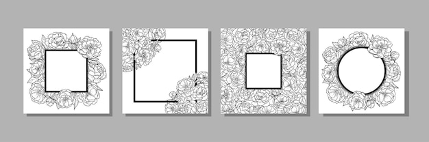 Modèles avec feuilles de fleurs de pivoine et cadre pour cartes de voeux invitations pages à colorier
