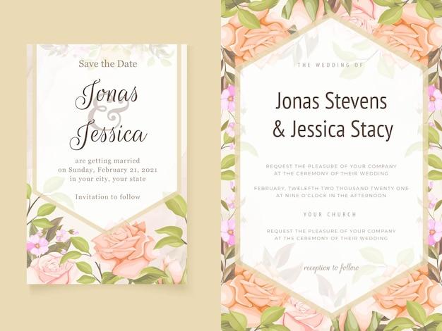 Modèles floraux d'invitations de mariage élégantes avec des fleurs et des feuilles
