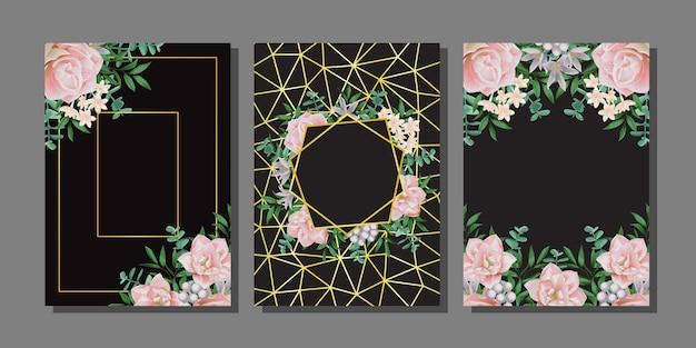 Modèles floraux sertis d'herbe de fleurs dans un style aquarelle verdure a4 maquettes avec place de texte