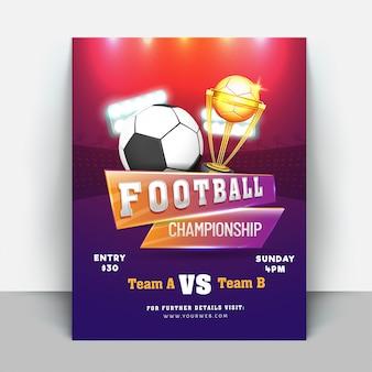 Modèles de flyer ou bannière de championnat de football