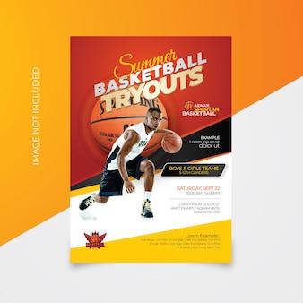 Modèles de flyer d'essais de basket-ball