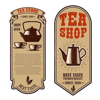 Modèles de flyer de magasin de thé vintage. éléments de conception pour logo, étiquette, signe, badge.