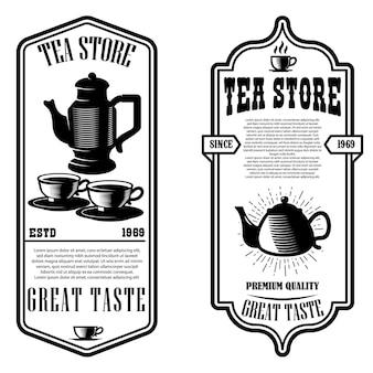 Modèles de flyer de magasin de thé vintage.