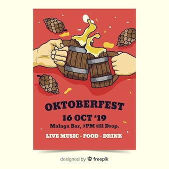 Modèles de flyer oktoberfest dessinés à la main