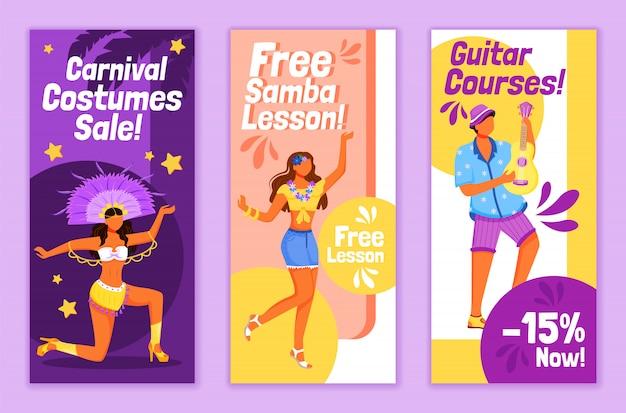 Modèles de flyers de carnaval brésilien