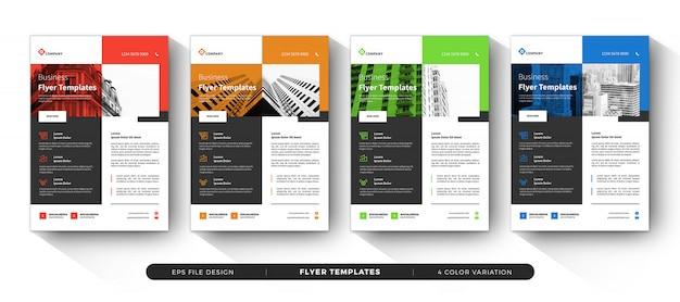 Modèles de flyers commerciaux conception avec variation de couleur
