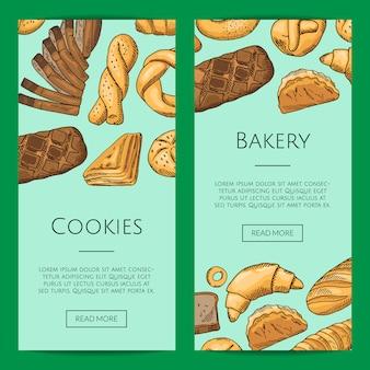 Modèles de flyers de magasin avec des éléments de boulangerie