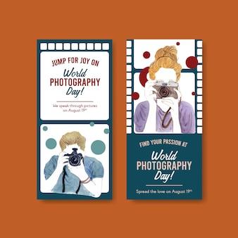 Modèles de flyers pour la journée mondiale de la photographie